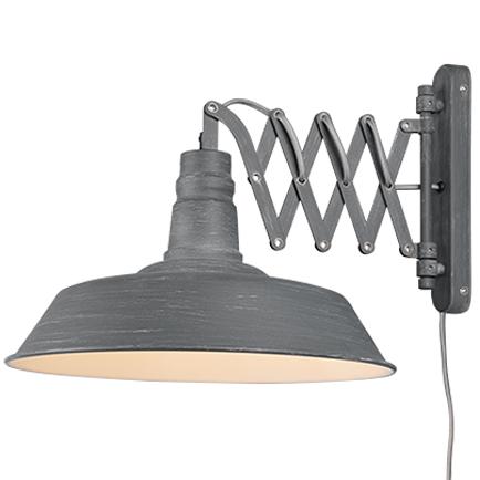 Industri�le wandlamp grijs met uittrekbare schaararm - Mancis