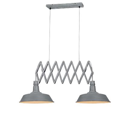Industrialna lampa wisząca szara 2-źródła światła ramię nożycowe - Mancis