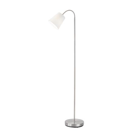 Designerska lampa podłogowa stal klosz biały - Noukie