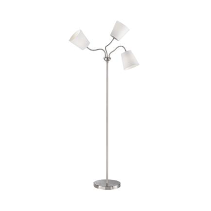 Designerska lampa podłogowa stal klosz biały 3-źródła światła - Noukie
