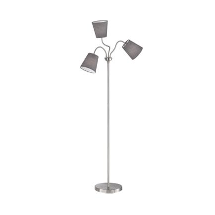 Design vloerlamp staal met grijze kap 3-lichts - Noukie