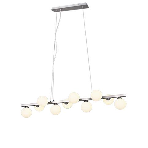 Art Deco hanglamp staal met opaal glas 10-lichts - Fon