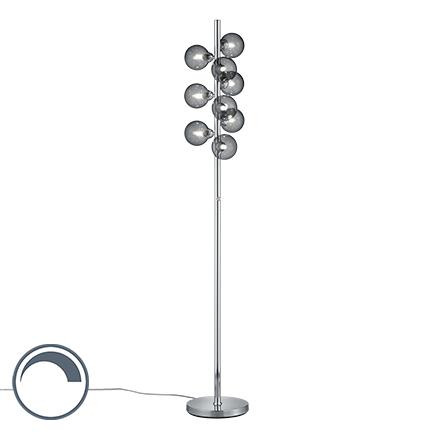 Lampa podłogowa art deco stal szkło przydymione 9-źródeł światła - Fon