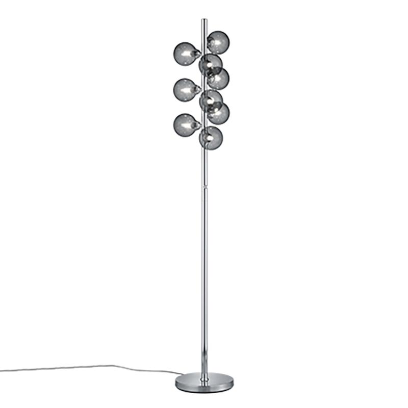 Art deco vloerlamp staal dimbaar met smoke glas 9-lichts - Fon