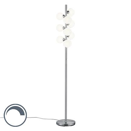 Lampa podłogowa art deco stal szkło mleczne 9-źródeł światła - Fon