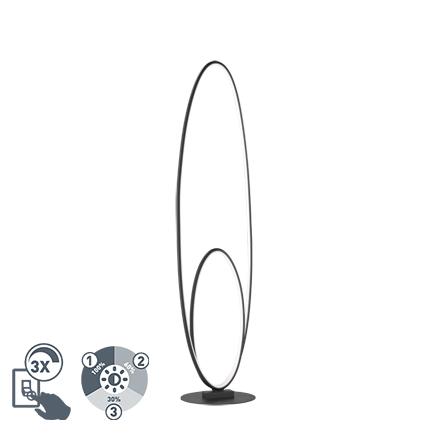 Design vloerlamp zwart incl. LED 3 staps dimbaar - Ocho