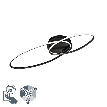 Design plafondlamp zwart incl. LED 3 staps dimbaar - Ocho