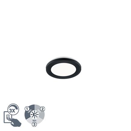 Plafonnière zwart 17 cm incl. LED 3 staps dimbaar IP44 - Lope