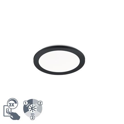 Plafon okrągły czarny 26cm IP44 3-stopniowe ściemnianie LED - Lope