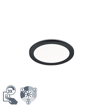 Plafonnière rond zwart 26 cm incl. LED 3 staps dimbaar IP44 - Lope
