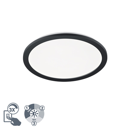 Plafonnière rond zwart 40 cm incl. LED 3 staps dimbaar IP44 - Lope
