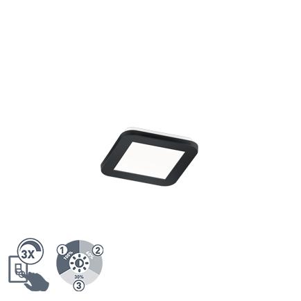 Plafon kwadratowy czarny 17cm IP44 3-stopniowe ściemnianie LED - Lope