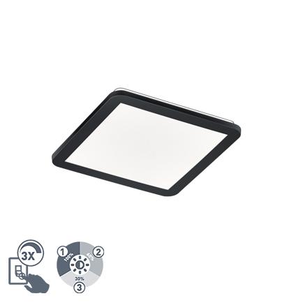 Plafon kwadratowy czarny 30cm IP44 3-stopniowe ściemnianie LED - Lope