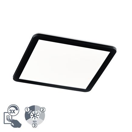 Plafonnière vierkant zwart 40 cm incl. LED 3 staps dimbaar IP44 - Lope