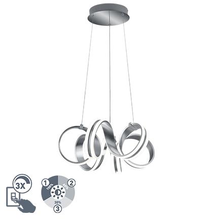 Design hanglamp staal 3-staps dimbaar incl. LED - Filum