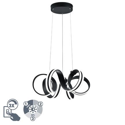 Design hanglamp zwart 3-staps dimbaar incl. LED - Filum