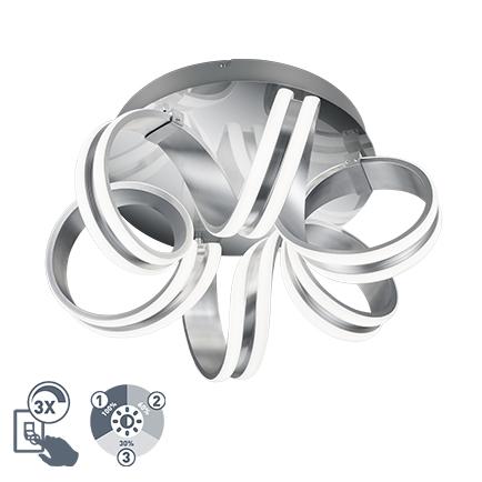 Design plafondlamp zilver 3-staps dimbaar incl. LED - Filum