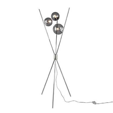 Design vloerlamp zilver met smoke glas 3-lichts - Stino