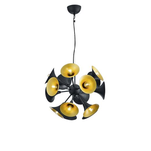 Lampa wisząca w stylu art deco czarna ze złotem w środku - przycisk