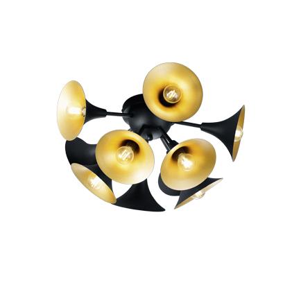 Lampa sufitowa w stylu art deco czarna ze złotym wnętrzem - przycisk