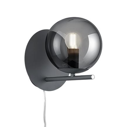 Art deco wandlamp zwart met smoke glas - Flore