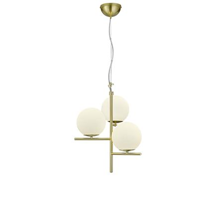 Art deco hanglamp goud met opaal glas 3-lichts - Flore