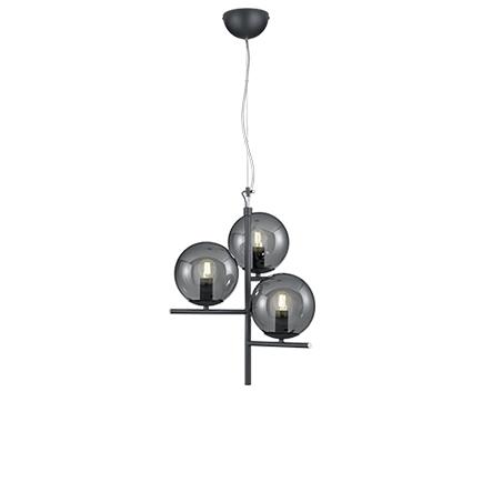 Art deco hanglamp zwart met smoke glas 3-lichts - Flore