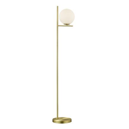 Art Deco vloerlamp goud met opaal glas - Flore