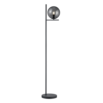 Lampa podłogowa art deco czarna przydymione szkło - Flore