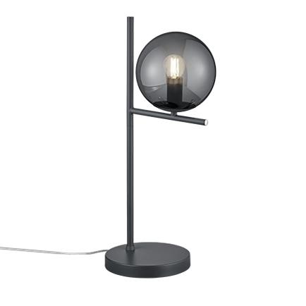 Art Deco tafellamp zwart met smoke glas - Flore