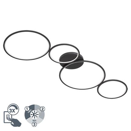 Design plafondlamp zwart 3-staps dimbaar incl. LED - Lupolo