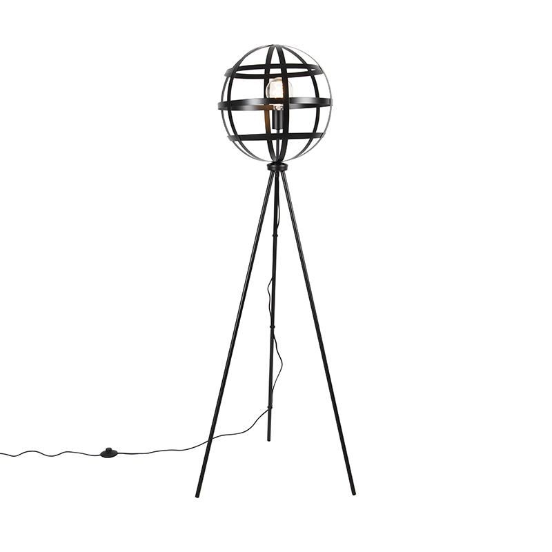 Przemysłowa lampa podłogowa czarna - Boula