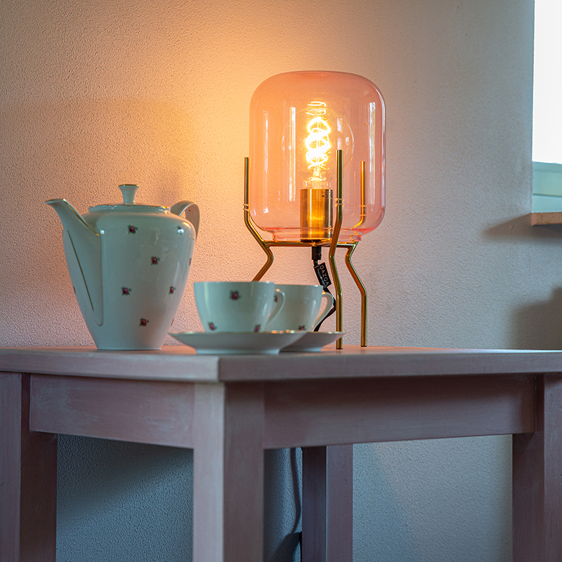 Art Deco tafellamp messing roze glas - Bliss