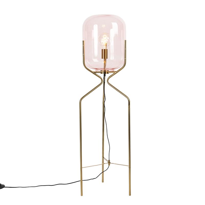Mosiężna lampa podłogowa w stylu art deco z różowym szkłem - Bliss