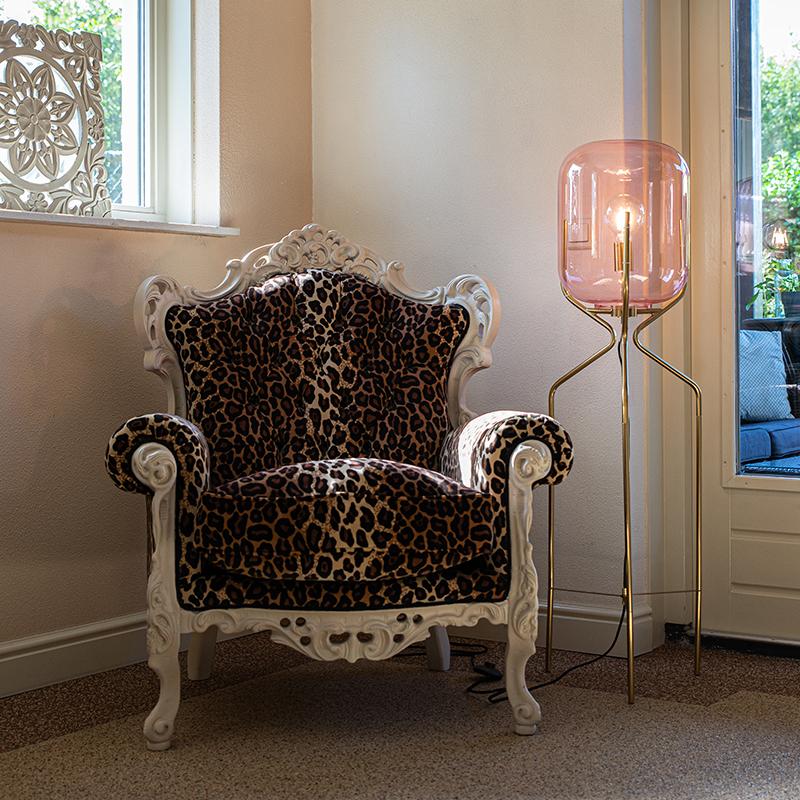 Art Deco vloerlamp messing met roze glas - Bliss