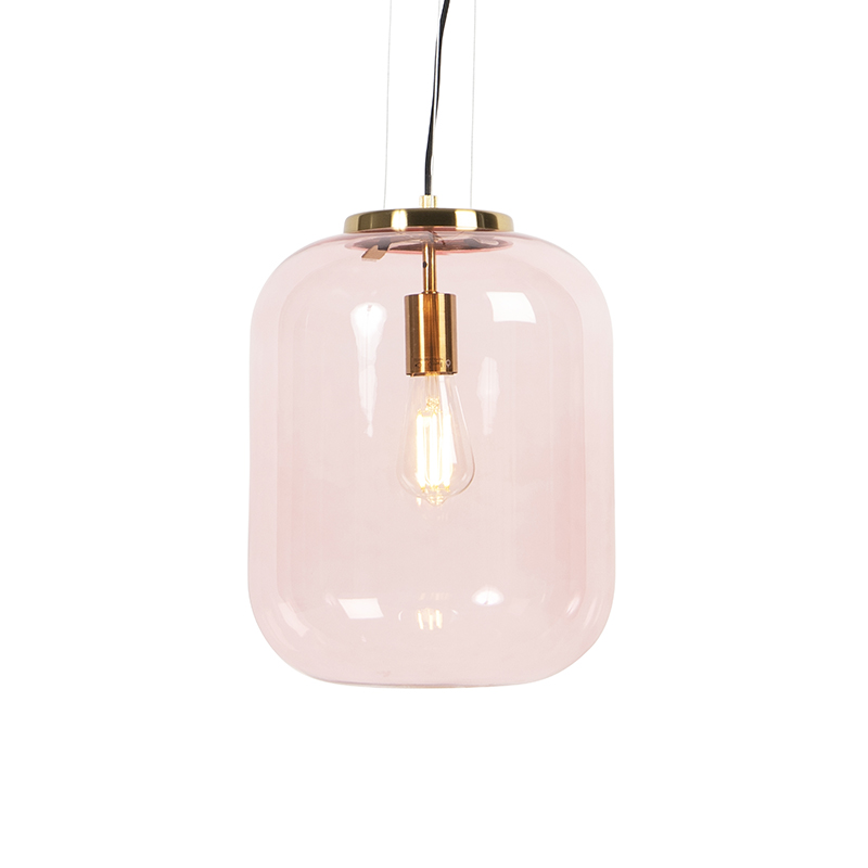 Lampa wisząca w stylu art deco mosiądz z różowym szkłem - Bliss