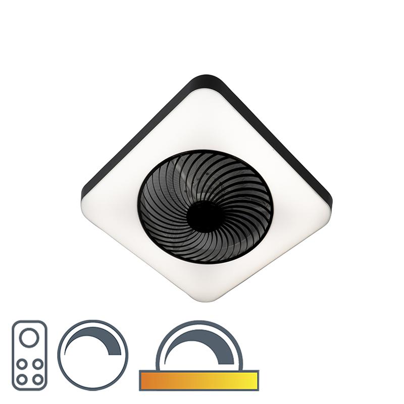 Plafondventilator vierkant zwart incl. LED dimbaar - Climo