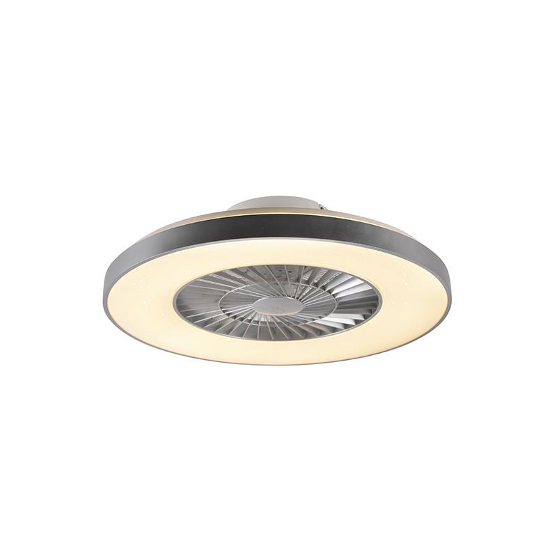 Plafondventilator zilver met ster effect dimbaar - Climo