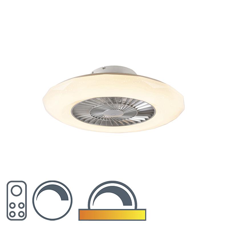 Plafondventilator zilver incl. LED met ster effect dimbaar - Clima