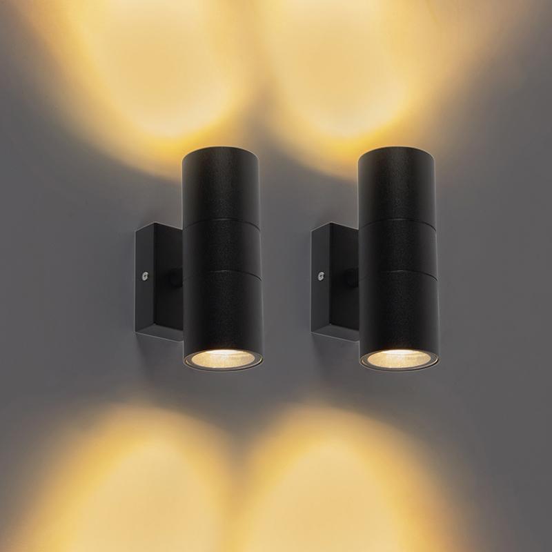 Set van 2 buitenwandlampen zwart IP44 - Duo
