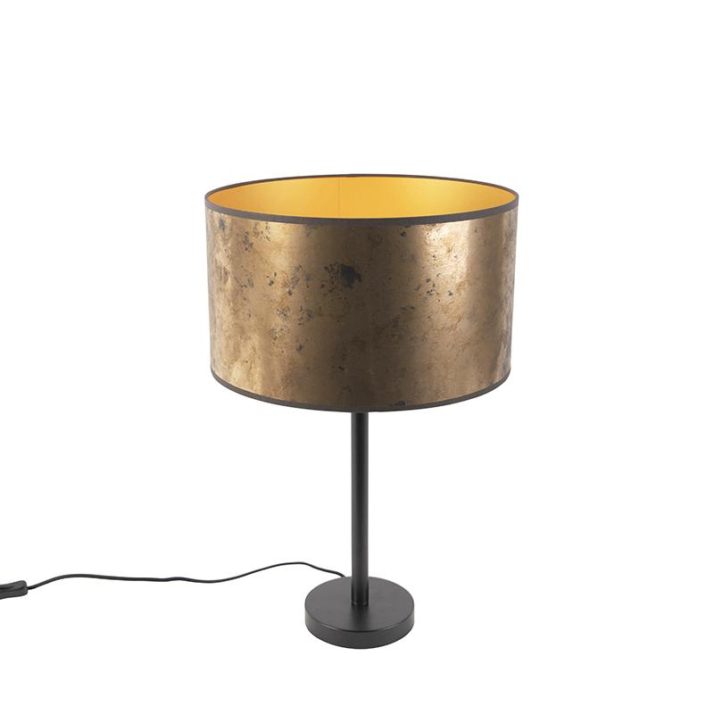 Art Deco tafellamp zwart met oud bronzen kap 35 cm - Simplo