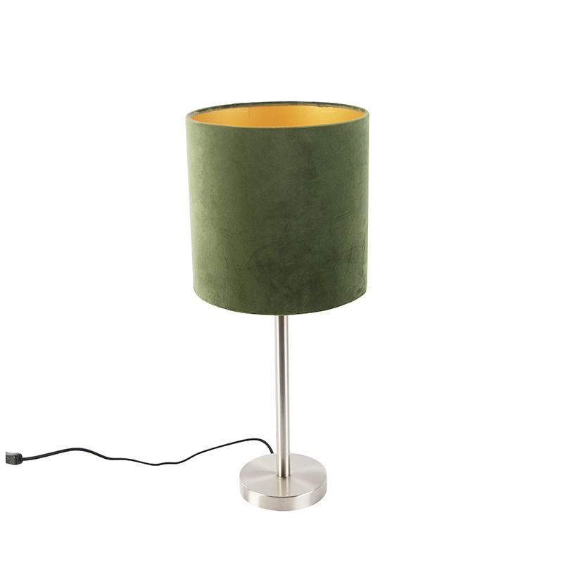 Tafellamp staal met groene kap 25 cm - Simplo