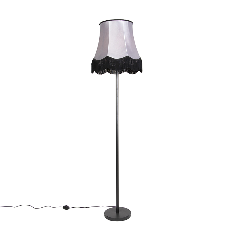 Klasyczna lampa stojąca czarna z odcieniem szarości Granny B - Simplo
