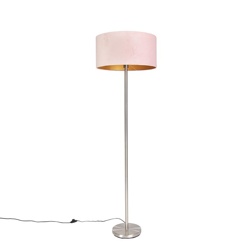 Vloerlamp staal met roze kap 50 cm - Simplo