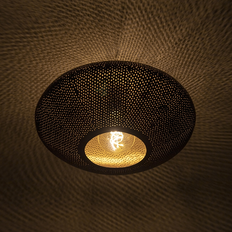Oosterse plafondlamp zwart met goud 40 cm - Radiance