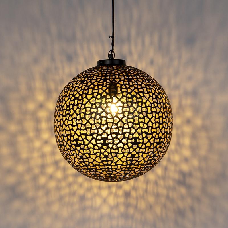 Oosterse hanglamp zwart met goud 45 cm - Radiante
