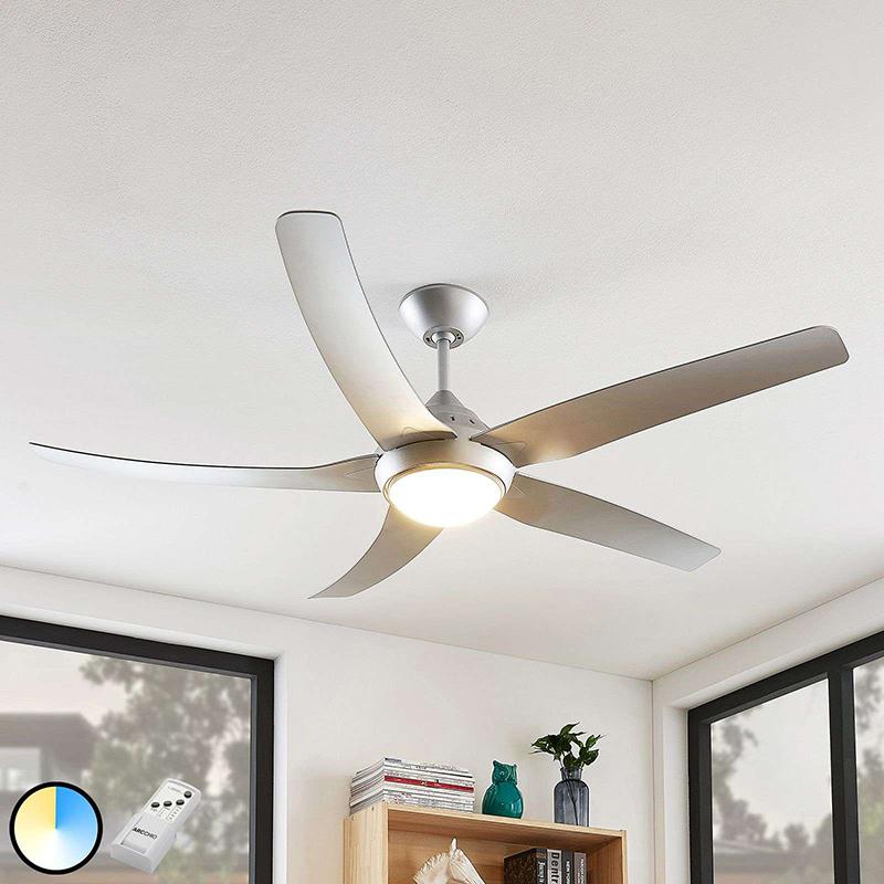 Plafondventilator zilver incl. LED en afstandsbediening - Pira