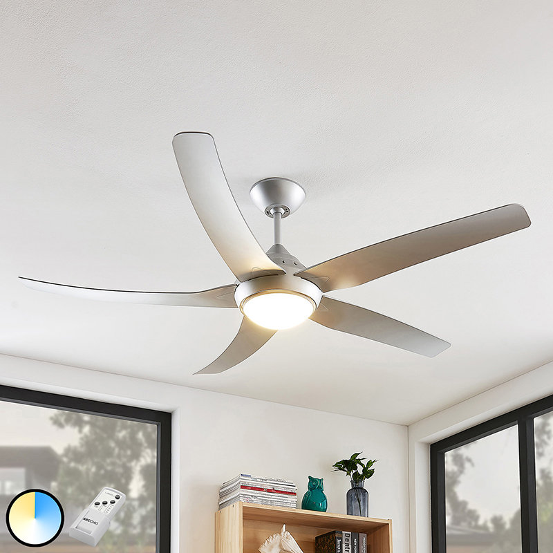 Plafondventilator zilver incl. LED en afstandsbediening - Dora