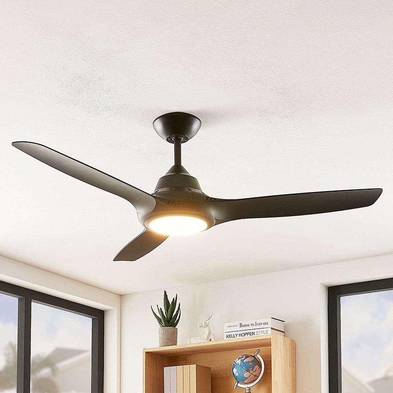 Plafondventilator zwart incl. LED en afstandsbediening - Aila