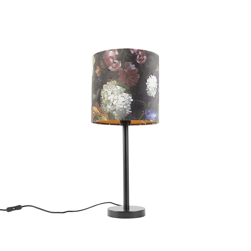 Romantische tafellamp zwart met bloemen kap 25 cm - Simplo